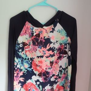 PinkBlush Navy Neon Floral Hooded Maternity Top